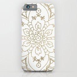 Chic elegant white faux gold spiritual floral mandala iPhone Case