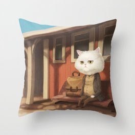 A cat waiting for someone Throw Pillow