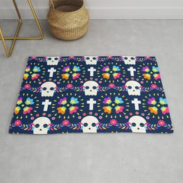 Latin Dios De Los Muertos Neon Sugar Skull and Cross Pattern Rug