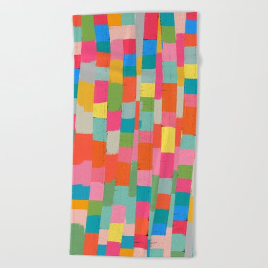 colorful patchwork 2 Beach Towel
