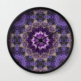 Amethyst and Gold Kaleidoscope  Mandala Wall Clock