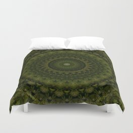 Mandala in olive green tones Duvet Cover