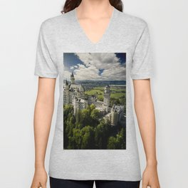 Aerial above Neuschwanstein Castle Unisex V-Neck