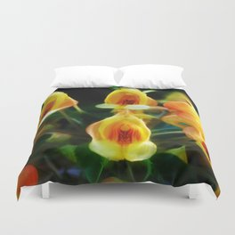 Yellow Flowers Scoop Petals Duvet Cover