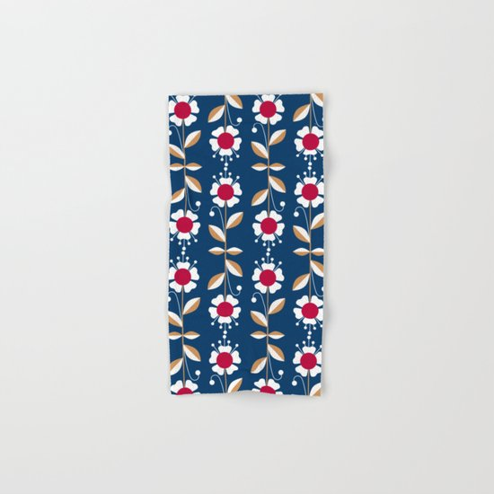 Blue floral pattern . Hand & Bath Towel