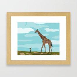 Giraffe riding dreams as yet unfulfilled Framed Art Print