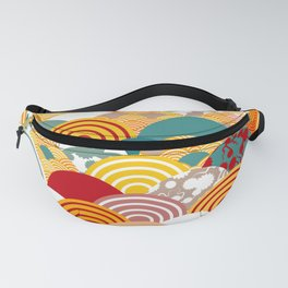 Nature background with japanese sakura flower, orange red pink Cherry, wave circle pattern Fanny Pack