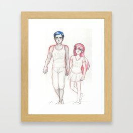 Blue and Pink Framed Art Print
