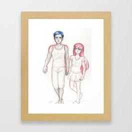 Blue and Pink Framed Art Print