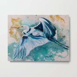 Blue Egret 2 Metal Print