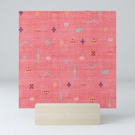 Cactus Silk Pattern in Pink Mini Art Print