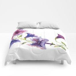 Watercolor branch of petunia. Comforters