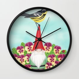 gnome with magnolia warbler and pansies Wall Clock