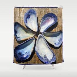Blue Sea Shells | Blue and White Shell Flower | Beach | Nadia Bonello Shower Curtain