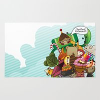 katamari Area & Throw Rugs featuring Chestnut Katamari by Ed Warner