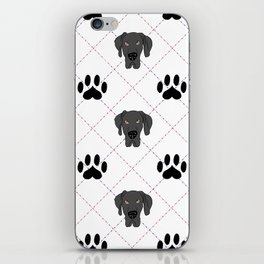 Black Great Dane Paw Print Pattern iPhone Skin