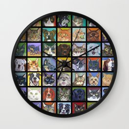 Cats and Dogs in Black Wall Clock