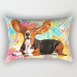 Basset Hound Dog Flying Ears Rectangular Pillow