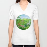 spring V-neck T-shirts featuring Spring by Amy Fan