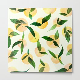 Sunny Lemon Print ~ Yellow and Green Metal Print