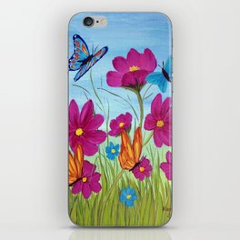Butterflies and flowers  iPhone Skin