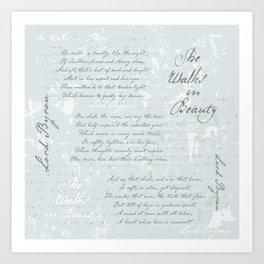 She Walks in Beauty - Lord Byron - poetry Art Print