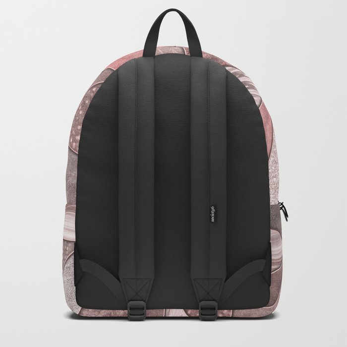 Soft Pink Coral Glamour Gemstone Triangles Backpack