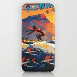 Hawaii Surfing, Diamondhead, World Airways Vintage Travel Poster iPhone Case