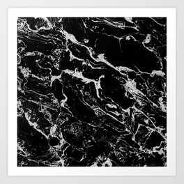 Modern silver black marble pattern Art Print