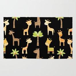 Giraffes - black Rug