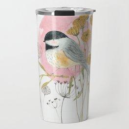 Chickadee and flowers Travel Mug