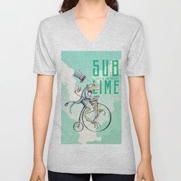 Sublime Bicycle Frog  Unisex V-Neck