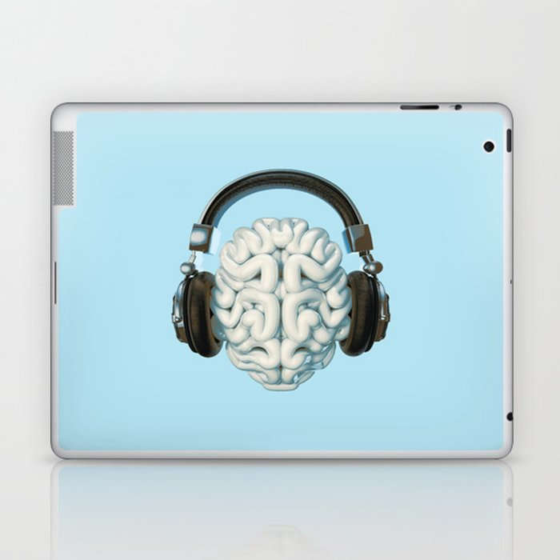 Mind Music Connection /3D render of human brain wearing headphones Laptop & iPad Skin
