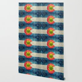 Retro Colorado State flag with leaf - Marijuana leaf that is! Wallpaper