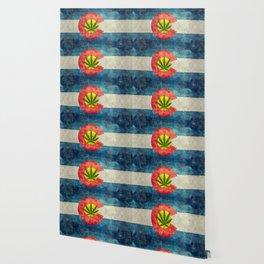 Retro Colorado State flag with leaf - Marijuana leaf that is! Wallpaper