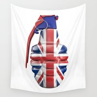 british Wall Tapestries featuring British grenade by GrandeDuc