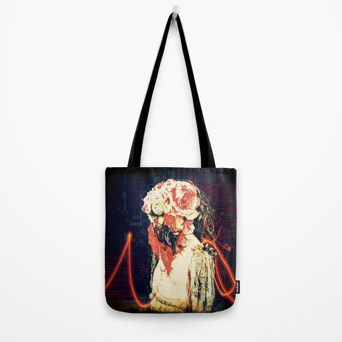 blood face flower face Tote Bag