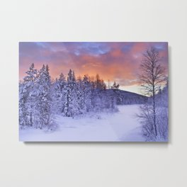 II - Sunrise over a river in winter near Levi, Finnish Lapland Metal Print