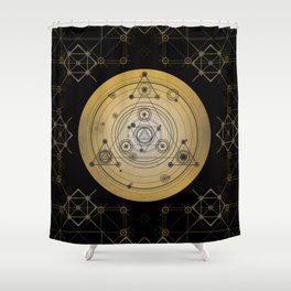 Mustard yellow distressed mandala circle with alchemy symbols Shower Curtain
