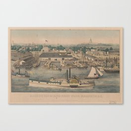 Vintage Pictorial Map of The 6th Street Wharf - Washington DC Canvas Print