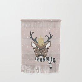 Holiday Deer Illustration Wall Hanging