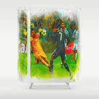 ronaldo Shower Curtains featuring Cristiano Ronaldo - Job Done by Don Kuing