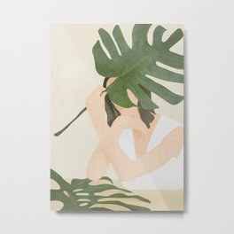 Under the Monstera Leaf Metal Print