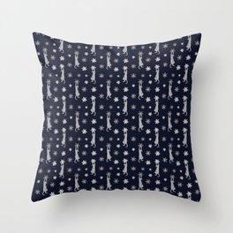 Cats Climbing Flowers Navy Blue Throw Pillow