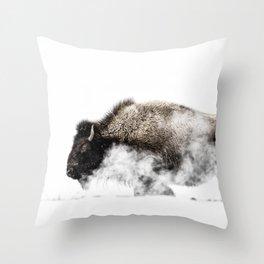 Bison Yellowstone Winter Throw Pillow