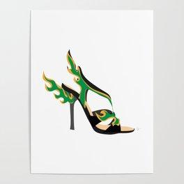 Flaming Fashion Green Heel Shoe Poster