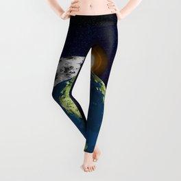 Earth Moon and Sun Leggings