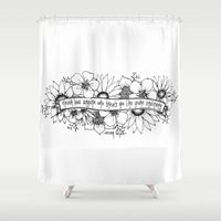 oscar wilde Shower Curtains featuring Oscar Wilde flowers by Narts and Crafts