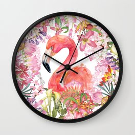 Flamingo in Tropical Flower Jungle Wall Clock