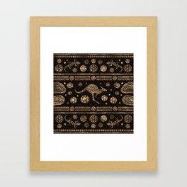 Aboriginal Dot Art Kangaroo and Lizard -gold Framed Art Print